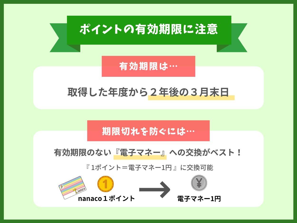 nanacoポイントの有効期限に注意