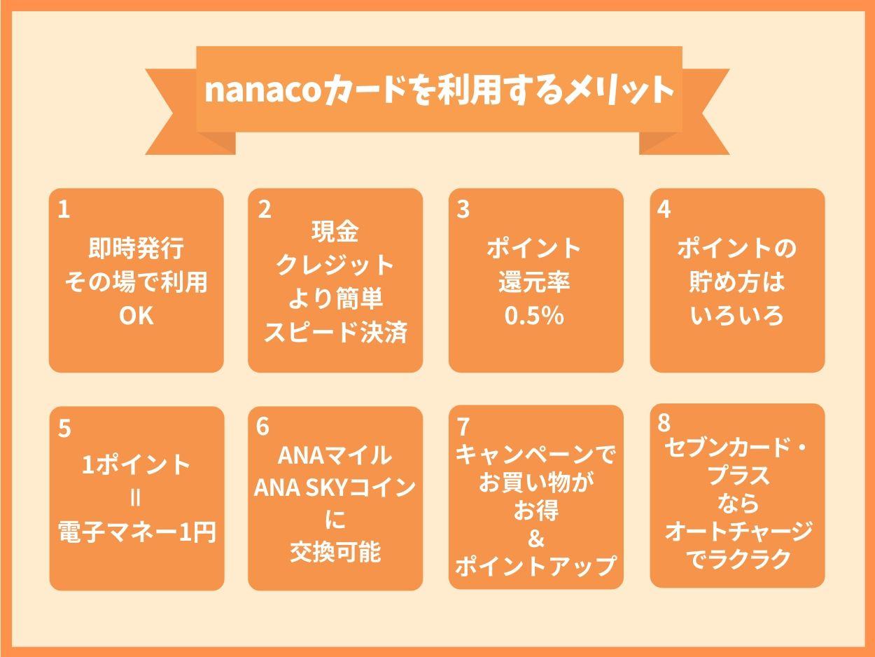 nanacoカードを利用するメリット