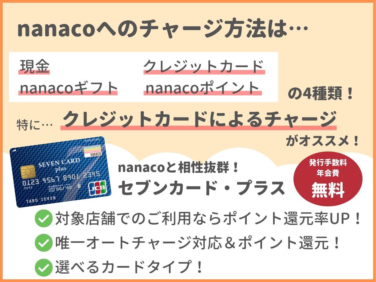 nanacoへのチャージ方法はセブンカード・プラスがお得!